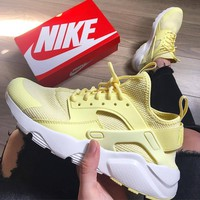 """NIKE""AIR Huarache Yellow Running Sport Casual Shoes Sneakers"