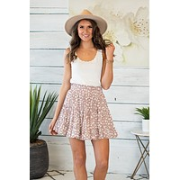 You Lead The Way Ruffle Skirt: Latte