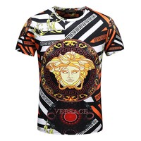 VERSACE Fashion Men Women Casual Personality Print Round Collar Tee Top Blouse