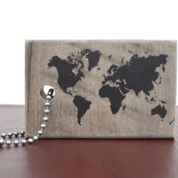 Personalized Wooden Luggage Tag Travel Mens Personalized luggage tag, world map gift for him, gift for husband travel tag custom luggage tag