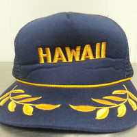 Vintage 90's Hawaii Military Snapback Trucker Hat Navy Blue with Embroidered military Branches Made In USA