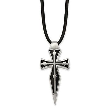 """Stainless Steel Antiqued Cross with 18 + 2"""" Extender Leather Cord Necklace"""