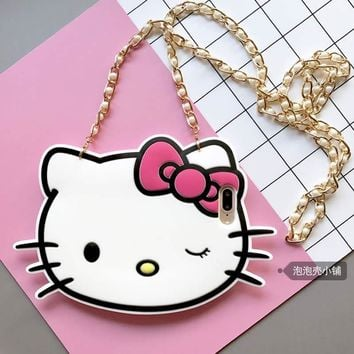 For Apple Iphone 6 case Cute 3D Cartoon Hello Kitty KT Cat Soft Silicon For Iphone 7 6S Plus Phone Case Back Cover with Chain