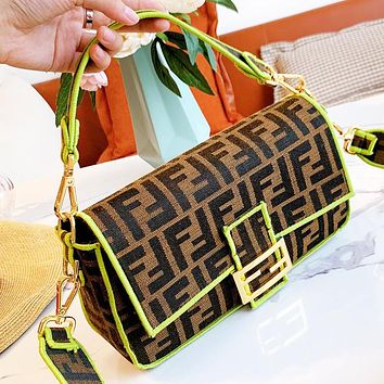 FENDI Women Fashion Retro Canvas Handbag Satchel Shoulder Bag Crossbody