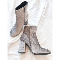 Old World Velvet Booties (Taupe Grey)