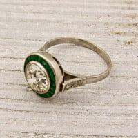 1.35 Old European Cut Diamond and Emerald by ErstwhileJewelry