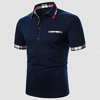 Fashion Casual Men Contrast Plaid Cuff Fake Pocket Polo Shirt