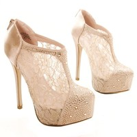 Nelson26 Women Rhinestone Stiletto High Heel Platform Pump