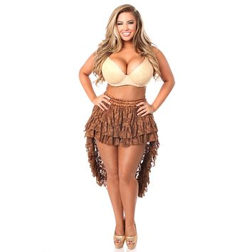 Brown Lace High Low Skirt
