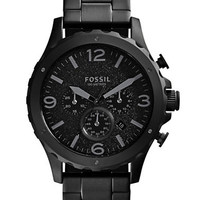 Fossil Mens Nate Black Chronograph Watch