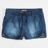 Zco Girls Chambray Jogger Shorts Dark Wash  In Sizes
