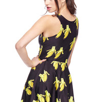 ROMWE Banana Partners Print Sleeveless Dress