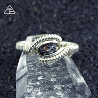 Size 4 Meteorite Sterling Silver Wire Wrapped Ring