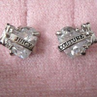 "Auth Juicy Couture Faceted Heart with ""Juicy"" Banner Stud Earrings Studs $48"