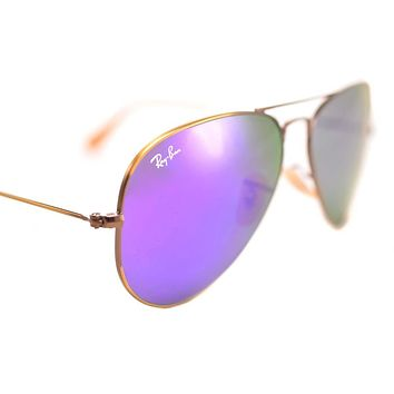 Cheap RAY-BAN AVIATOR FLASH RB3025 167/1M 58mm Large BRONZE COPPER VIOLET MIRROR case outlet