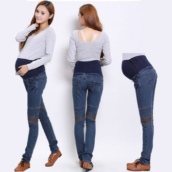 Plus Size Maternity Jeans New 2015 Clothes for Pregnant Women Maternity Pants spring clothing trousers Large Size Wearing = 1946784196