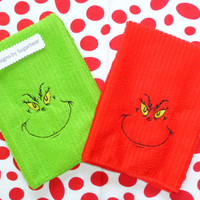 GRINCH TOWELS EMBROiDERED BOUTiQUE DeSiGN PeRFECT for YEAR Round FuN GiFT HoUSEWARMING GRiNCHY GReeN or BRiGHT ReD Designs by Sugarbear