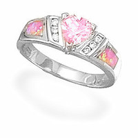 Sterling Silver Pink CZ and Created Opal Ring