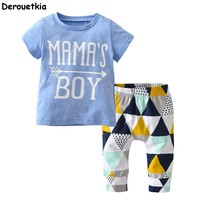 Summer 2018 Newborn Baby Boy Clothes Short Sleeve Cotton T-shirt Tops +Geometric Pant Infant 2PCS Outfit Toddler Kids Clothing