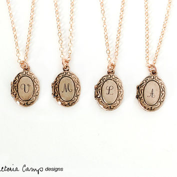 Custom Rose Gold Tiny Initial Locket Necklace, Personalized with your Letter, Bridesmaid Gifts, Bridal Party, Gift for Her