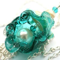 Teal Shell Pendant - beachy lampwork glass focal bead on sterling silver, jewelry by MayaHoney