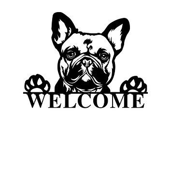 French Bulldog Welcome Sign - 36 inch