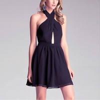 Black Haltered Chiffon Mini  Dress