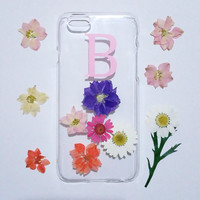 iPhone 5 case,Personalized iPhone 5s Case,monogram iPhone 5C case,initial iphone 5s case,real flower iphone case, floral phone case