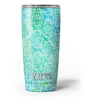 Green and Blue Wtaercolor Fractal Pattern - Skin Decal Vinyl Wrap Kit compatible with the Yeti Rambler Cooler Tumbler Cups