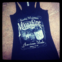 Vintage Moonshine Smoky Mountain American Made Triblend Racerback Tank Top