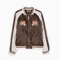 Satin bomber jacket with embroidery detail - BOMBERS - WOMAN | Stradivarius Other Countries