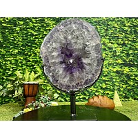 """""""GONG OF REFINEMENT"""" Amethyst Geode Slice 17.00 High Quality Crystal NS-406"""