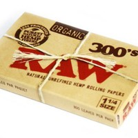 RAW Natural unrefined and ORGANIC Rolling paper size 1 1/4 - 300 papers