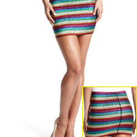 Rainbow Elastic Mini Skirt