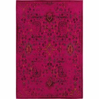 Oriental Weavers Traditional Pink Charcoal Polypropylene Oriental Machine-Woven Area Rug