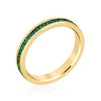 Stylish Stackables Eternity Green Crystal Ring, size : 05