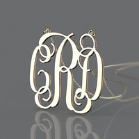 Golden monogram jewelry -- 1.25 inch monogram plated in gold --3 initial monogram necklace