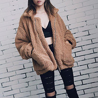 Elegant Faux Fur Coat Women 2018 Autumn Winter Warm Soft Zipper Fur Jacket Female Plush Overcoat With Pocket Casual Outerwear