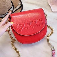Gucci Fashion Women Leather Metal Chain Shoulder Bag Crossbody Satchel Red