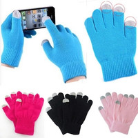 Universal Men Women lady Touch Screen Knit Stretch Gloves Soft Winter Warm For Smart Cell Phone iphone = 1958048452