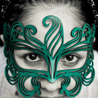 Muse leather mask in teal by TomBanwell on Etsy