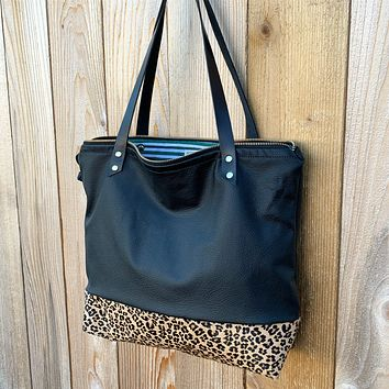 The Mercer Tote in Leather + Leopard