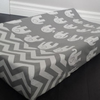 Change pad cover, contoured change pad, curved change pad, elephant change pad, chevron change pad, grey, elephant, chevron, custom, neutral