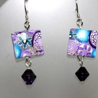 Kaleidoscope Pillow Bead Earrings With Sterling Silver Ear Wires