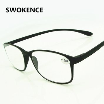 SWOKENCE Genuine TR90 Ultralight Tough Reading Glasses Men Women HD Lens Black or Brown Large Size Presbyopic Eyeglasses G405