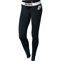 Nike Rally Tight Fit Pants Leggings Warm Black Nike Logo 545769 NWT JDI