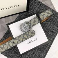 GUCCI 2018 new double G buckle men's wild smooth buckle belt