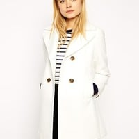 ASOS Pea Coat With Vintage Detail In Swing at asos.com