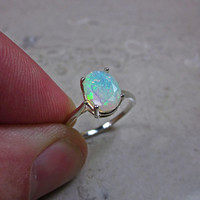 Opal Ring, Beautiful Ring, Anniversary Ring, Ethiopian Opal, Luxe Jewelry, Sterling Ring, Fire Opal, Colorful Gemstone, Forever Ring, Size 5