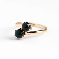 Antique 10k Rosy Yellow Gold Bloodstone Toi Et Moi Bypass Ring - Size 5 1/4 Victorian Two Green Red Gems Signed Allsop Fine Vintage Jewelry